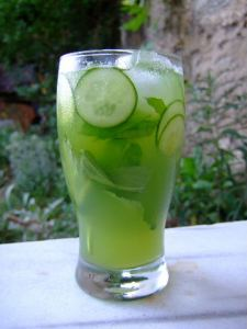 Refreshing ice water with cucumber
