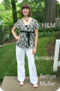 Client Meeting working mom outfit: Black-and-white H&M top, white Armani pants