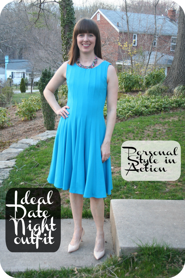 Personal Style in Action: Ideal working mom Date Night oufit: turquoise fit 'n' flare dress, nude pumps, chunky choker necklace