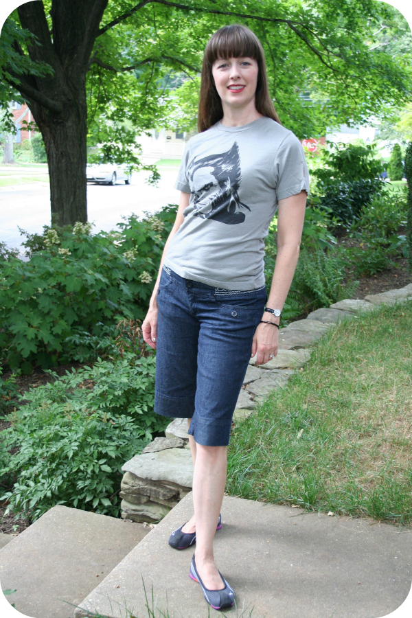 Weekend casual geek chic outfit idea: Wolverine T-shirt, denim culottes, Puma flats