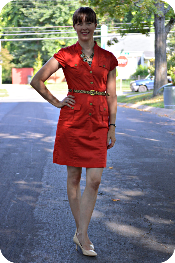 Outfit idea: Red shirtdress and leopard print accessories