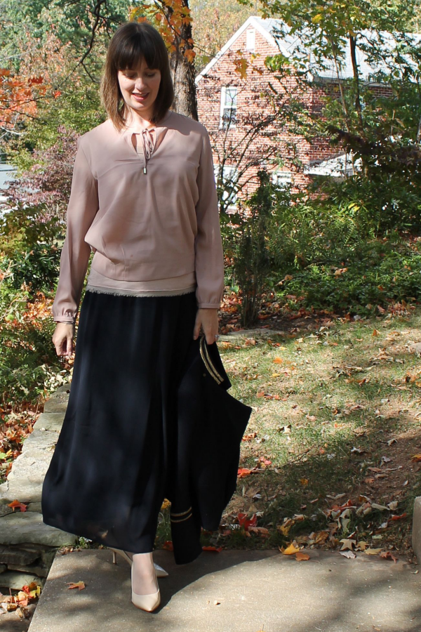 Layered blush tone blouses with navy maxi skirt, navy wool blazer and nude pumps