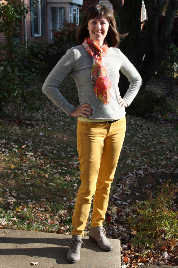 Outfit idea: Mustard yellow denim for fall