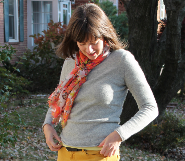 Outfit idea: A floral print scarf brings together mustard yellow and this peek of lime green.