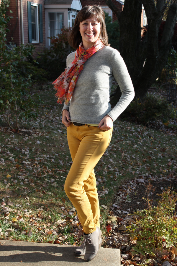 Outfit idea: Flower print scarf, grey sweater, lime green tee, mustard yellow denim.