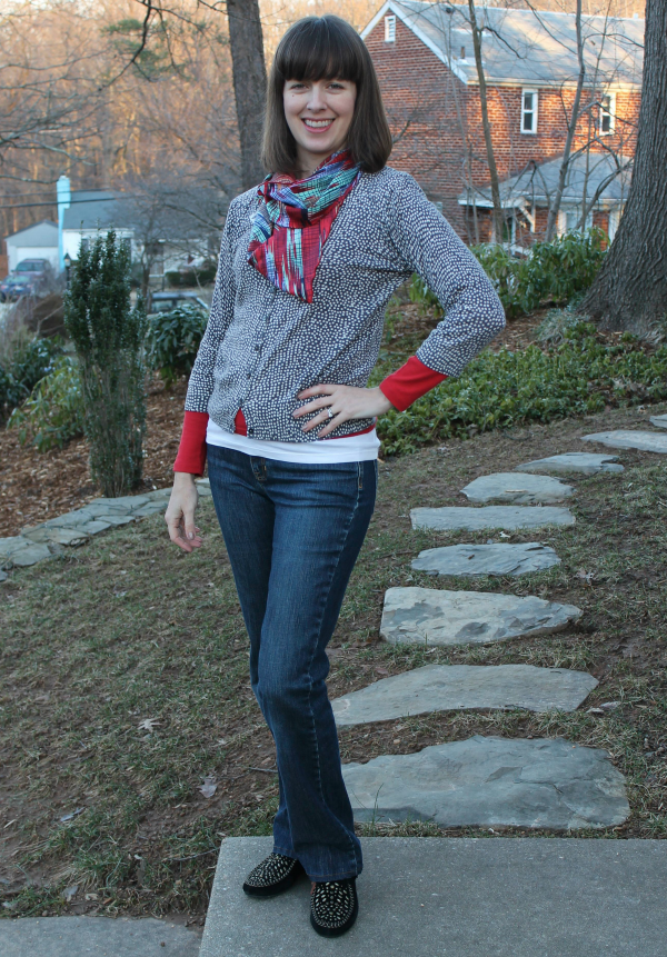 Outfit idea: Casual combo of layered T-shirts, cardigan, denim and Anna Sui for Hush Puppies moccasins