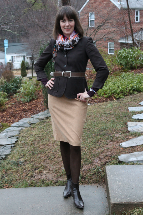 Working mom outfit idea: Brown blazer belted with suede skirt and ankle booties